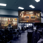 3d signage and vinyl wall graphic window graphic of carhartt store