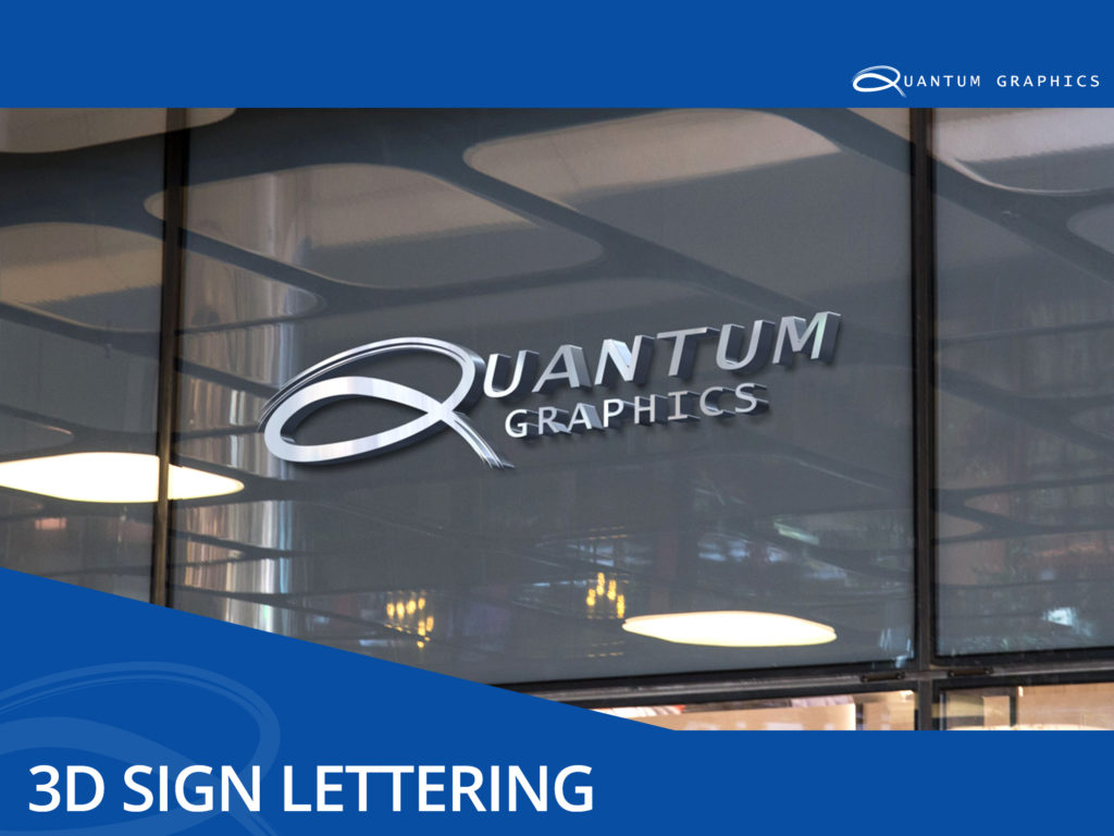 3d dimensional sign lettering above an office door