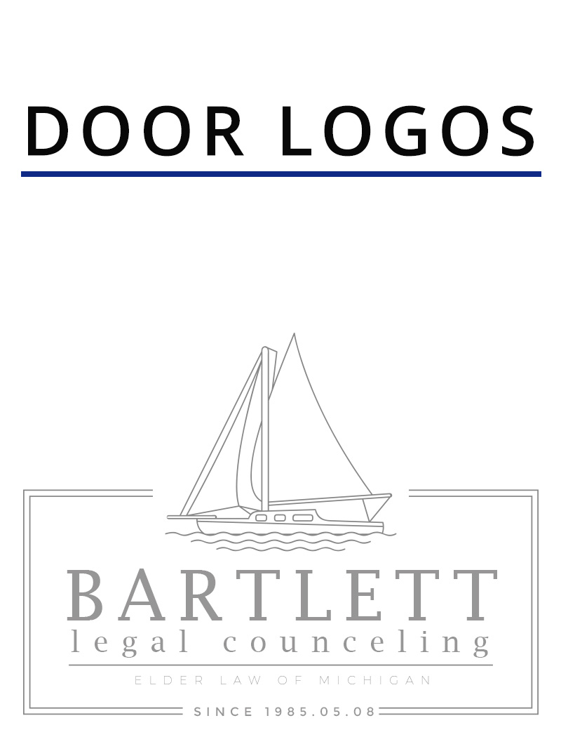 etched window vinyl for a legal consulting company that states door logos