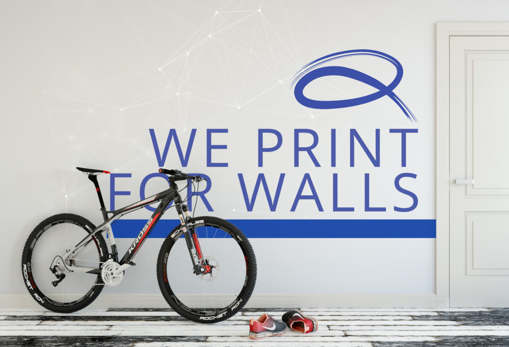 qunatum graphics wall printing stating we print for walls installed on vinyl and stuck to the wall