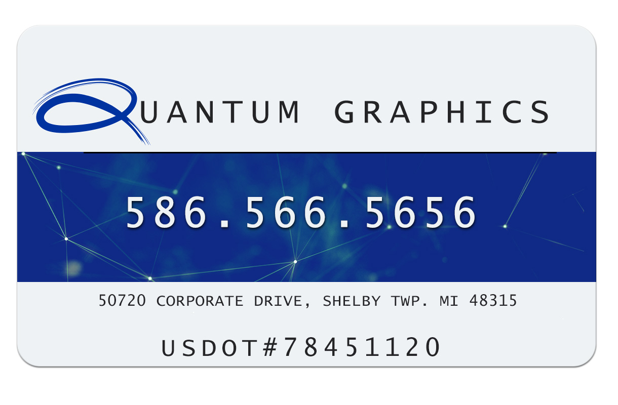a vehicle magnet with quantum graphics on the top and the phone number 586.566.5656 in the middle and the address 50720 corporate drive, shelby twp. mi 48315 below that and a usdot#