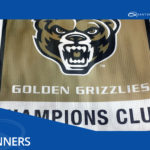 mesh banner for oakland university athletic department printed by quantum graphics