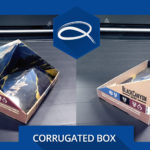 a display of a corrugated box with the quantum graphics corporate printed q the center of the textin
