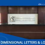 3d sign for corporate office signage has metal look