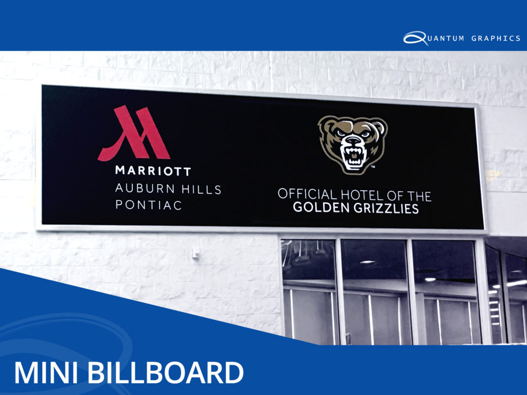 mini billboard inside the pool section of oakland university adverting the partnership of the marriott hotel