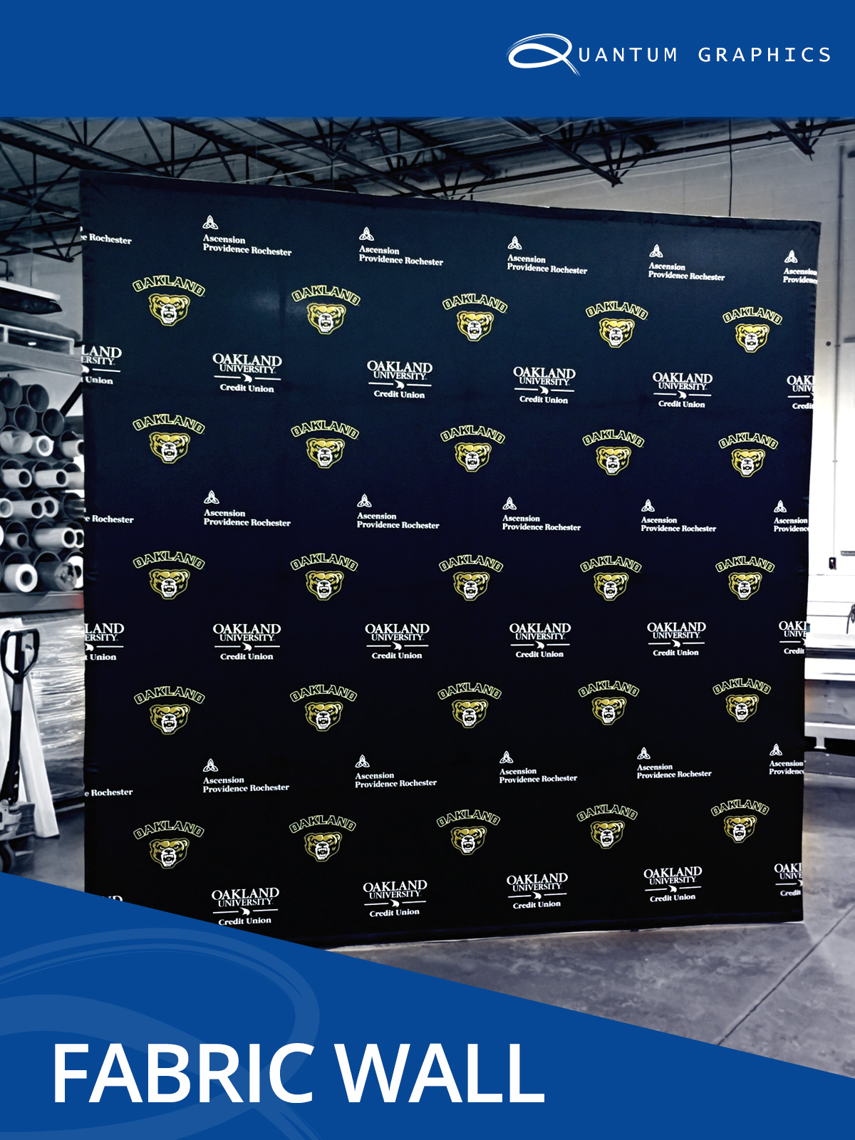 fabric wall showing the height and width for oakland university