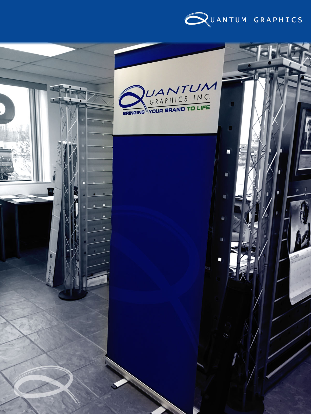 quantum graphics pop-up banner inside the main offices