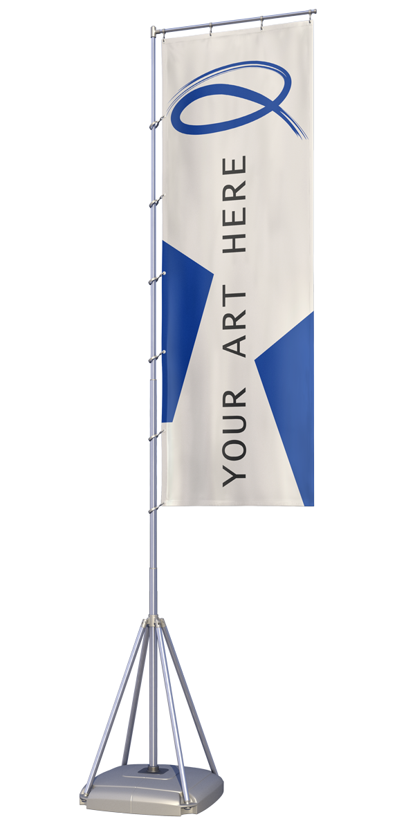 flat vinyl flag on stand with weighted base displaying quantum graphics corporate printed q and states your art here