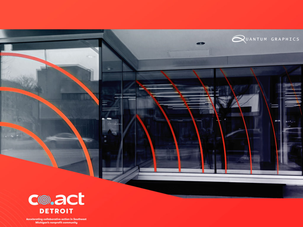 vinyl window graphics installed at co.act detroit