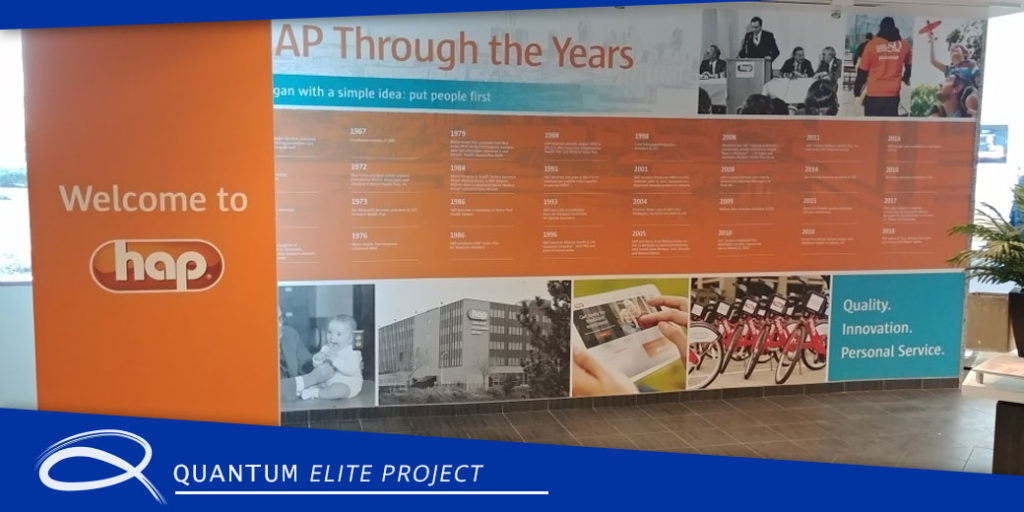 the headquarters of hap in Troy Michigan with a new installation of wall graphics installed by quantum graphics