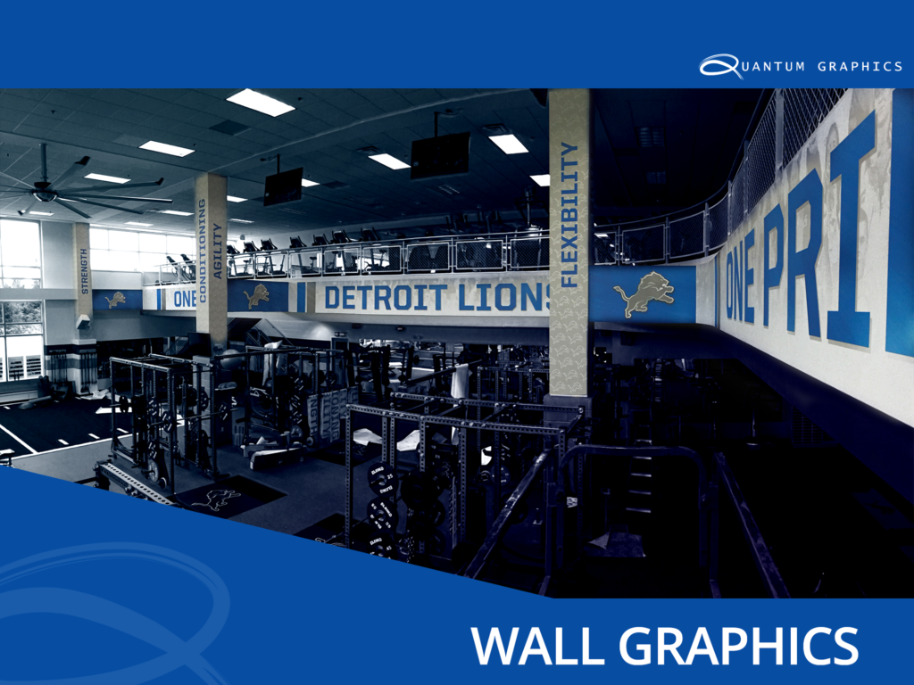 vinyl wall graphics in the detroit lions training room
